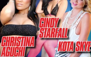 Christina Aguchi, Cindy Starfall and Kota Skye at Hustler Club Las Vegas