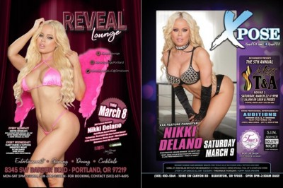 Nikki Delano Featuring at Reveal Lounge & Xpose Gentlemen's Clubs in Oregon
